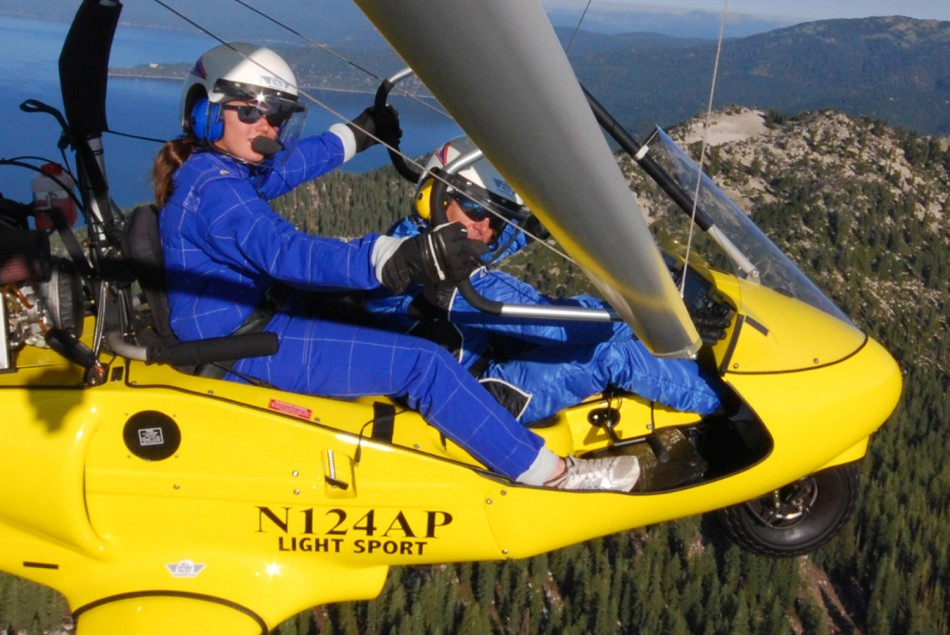 Student at the controls of powered hang glider with Hang Gliding Tahoe.