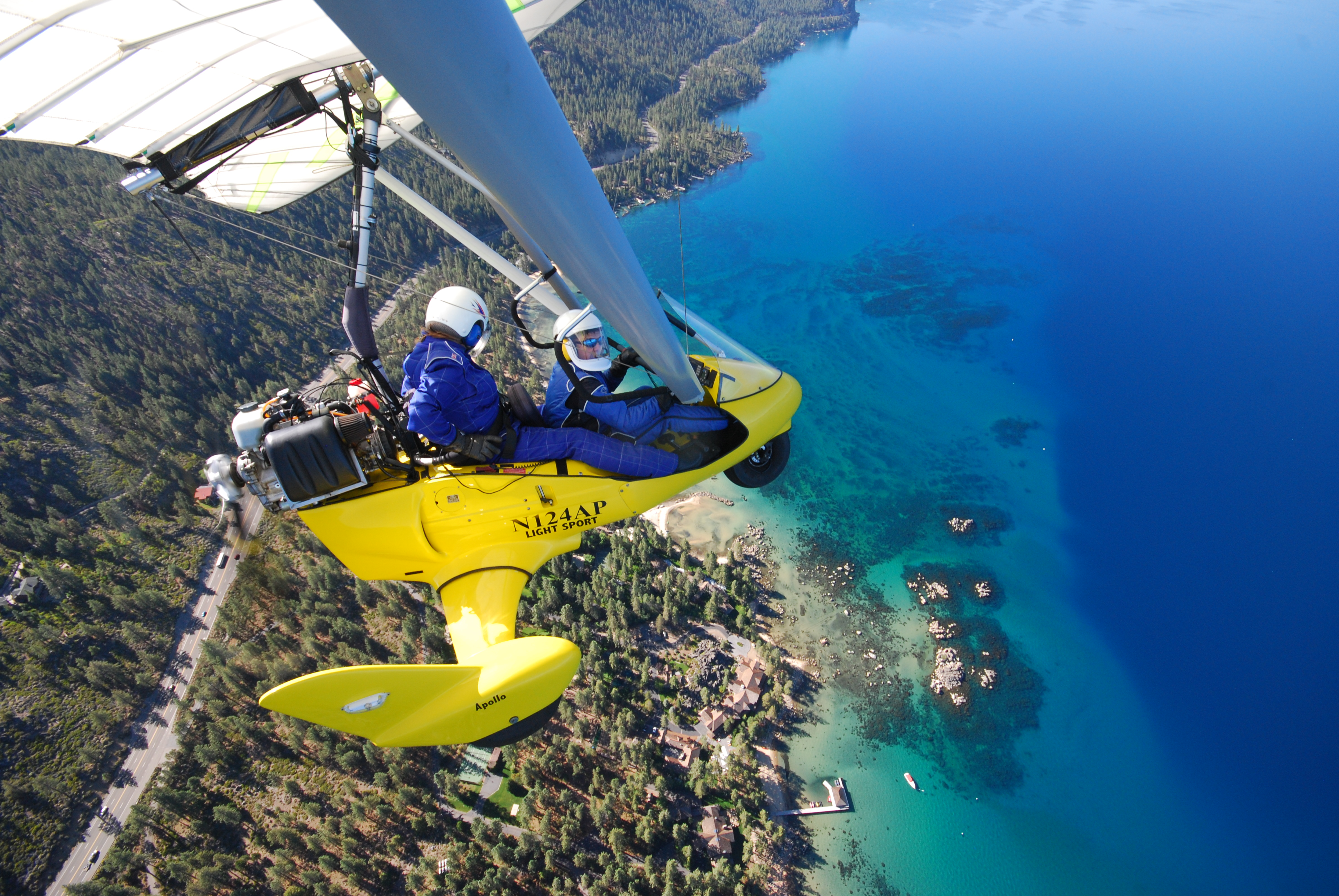 Powered hang gliding above West Shore, Lake Tahoe