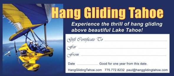 Hang Gliding Tahoe Gift Certificates make great gifts for Christmas, birthdays, anniversaries, and any special occasion!
