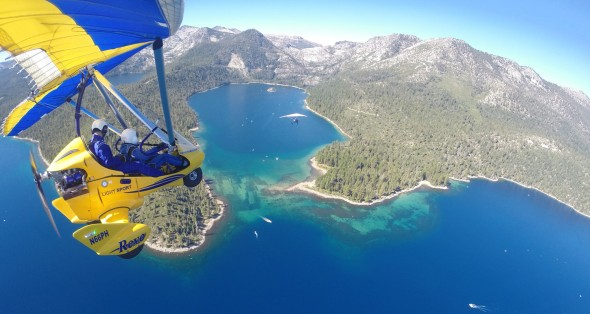 hang gliding above emerald bay, south lake tahoe