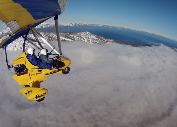 above the clouds in powered hang glider south lake tahoe