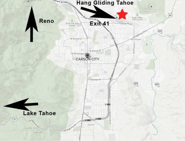 Hang Gliding Tahoe Location Map Carson City Airport, Carson City, NV