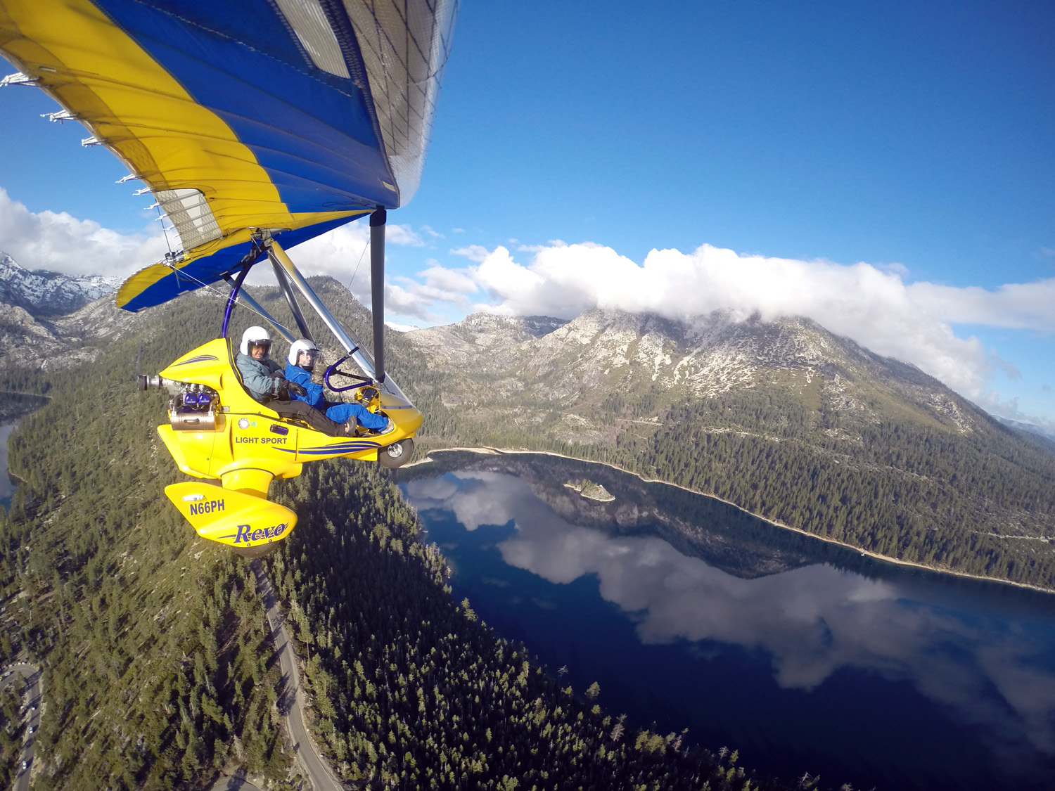 Reflection of clouds in Emerald Bay, view from powered hang glider.
