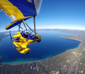 Hang gliding above Lake Tahoe CA