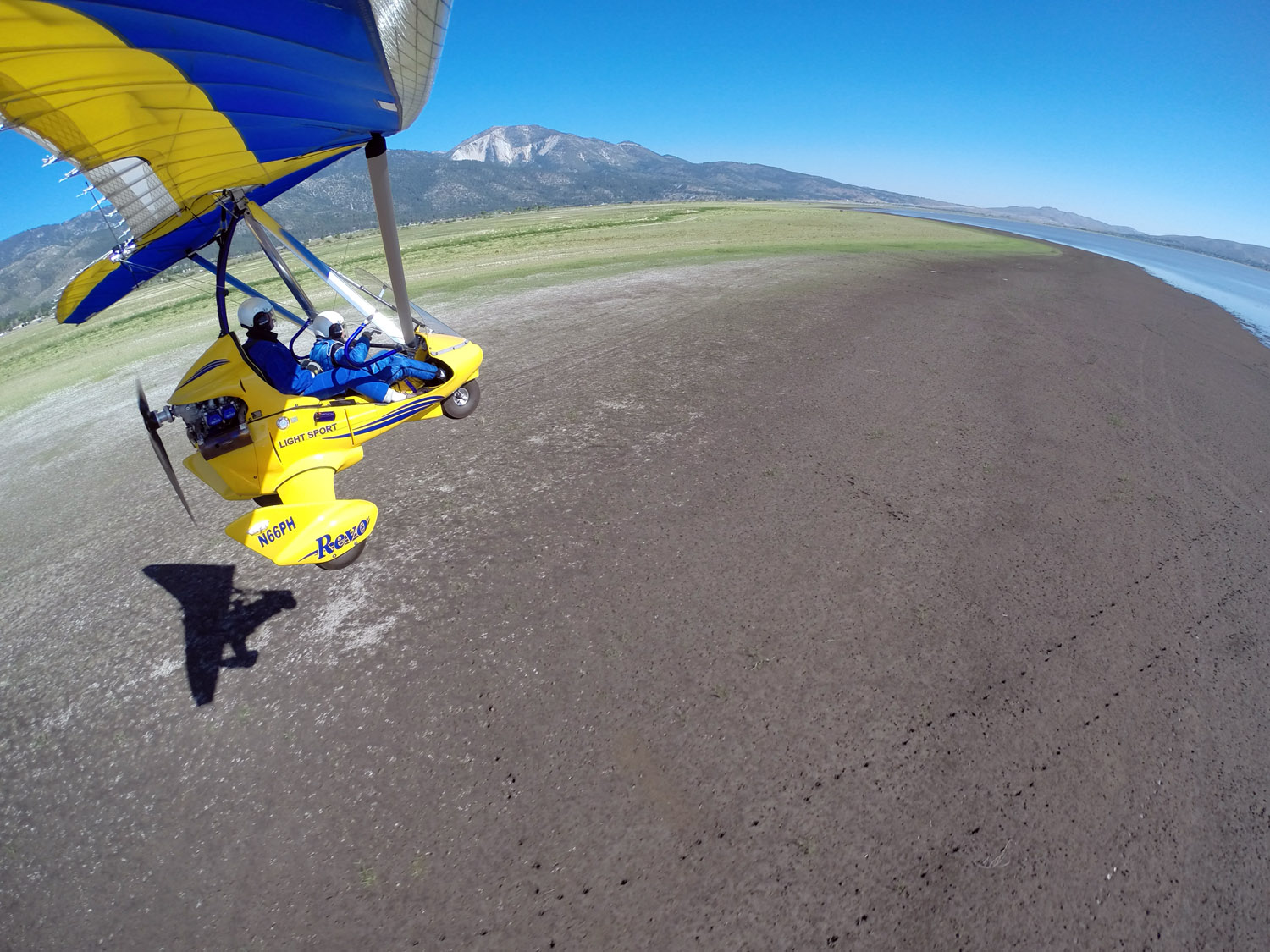 Flying Low Along Washoe Lake with Mt. Rose in background.