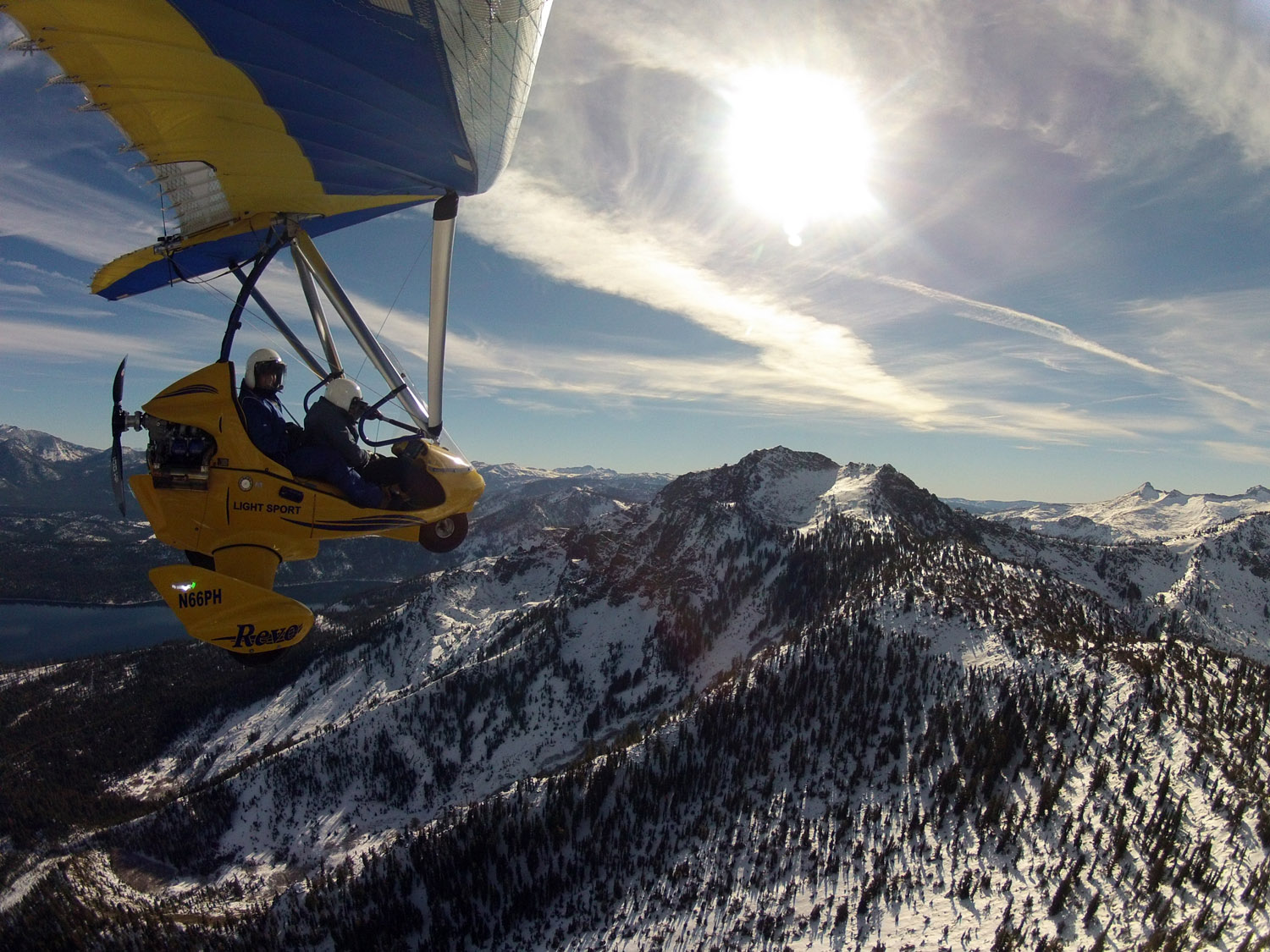 Early Morning Hang Gliding above snow-capped Sierras
