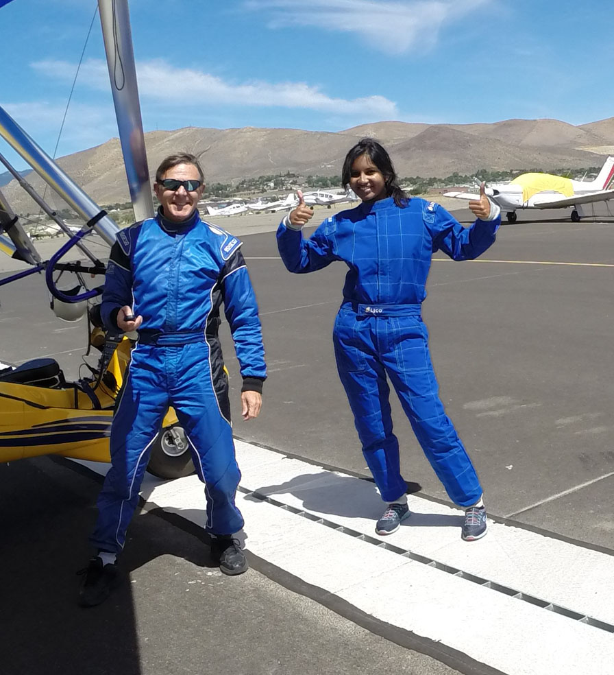 Successful student after her flight with Hang Gliding Tahoe